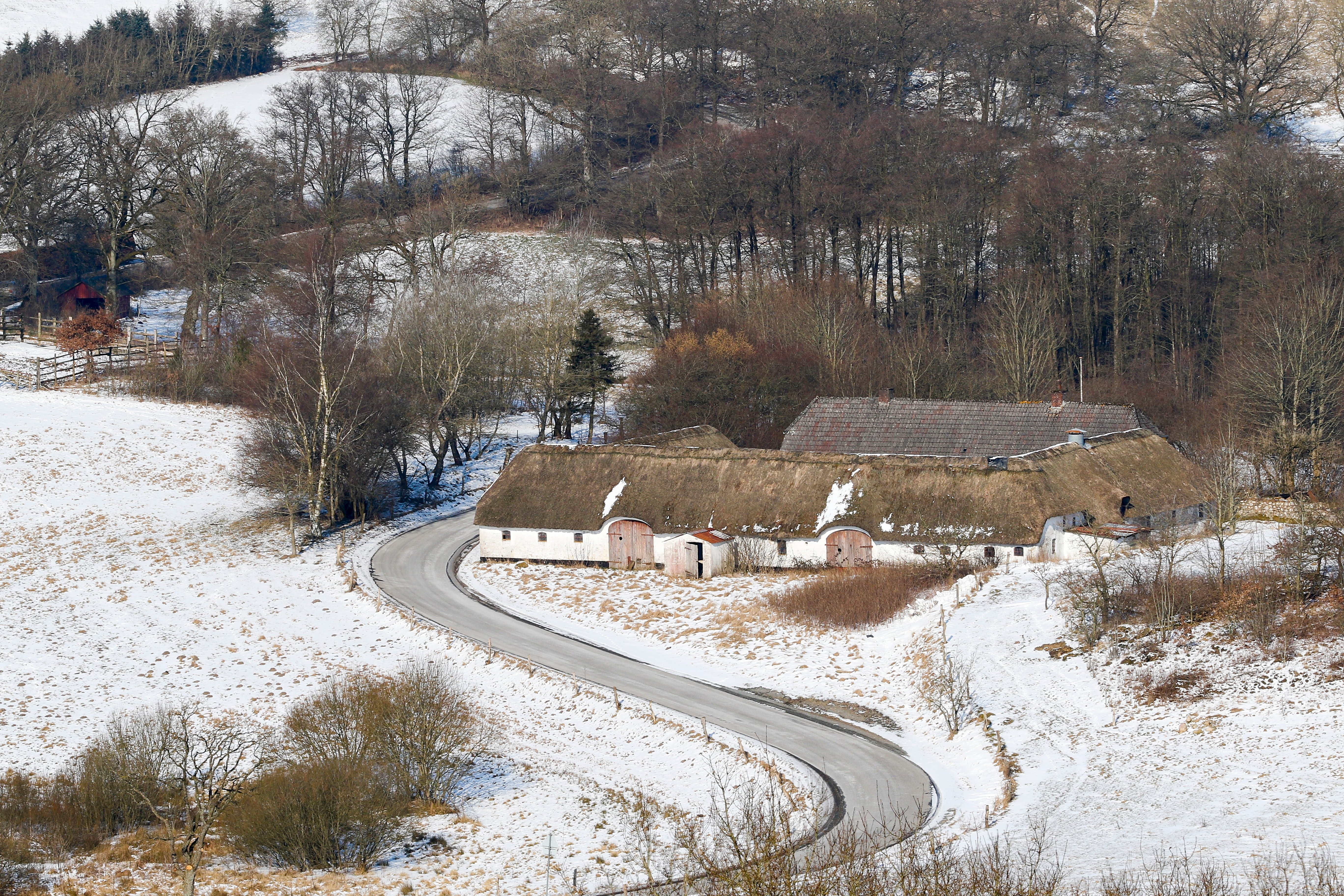 Winding road in snow
